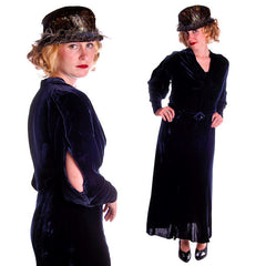 Vintage Dress Blue Silk Velvet Gown 1930s Cut Out Sleeves XL 44-36-44 - The Best Vintage Clothing  - 2