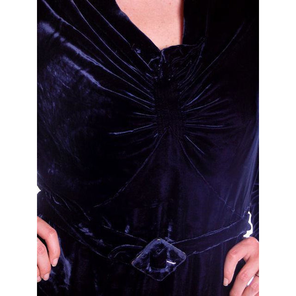 Vintage Dress Blue Silk Velvet Gown 1930s Cut Out Sleeves XL 44-36-44 - The Best Vintage Clothing  - 9