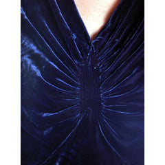 Vintage Dress Blue Silk Velvet Gown 1930s Cut Out Sleeves XL 44-36-44 - The Best Vintage Clothing  - 7