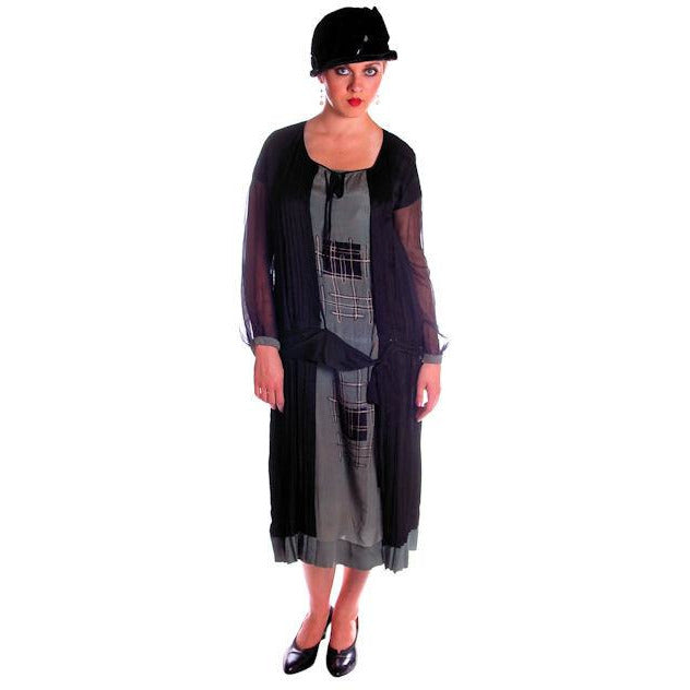 Vintage 1920s Dress Art Deco Era Dress Large Flapper Silk Pongee Fabulous - The Best Vintage Clothing  - 1