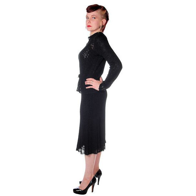 Vintage Black Rayon Knit Skirt Suit 1930s Glass Buttons Size  Small - The Best Vintage Clothing  - 1
