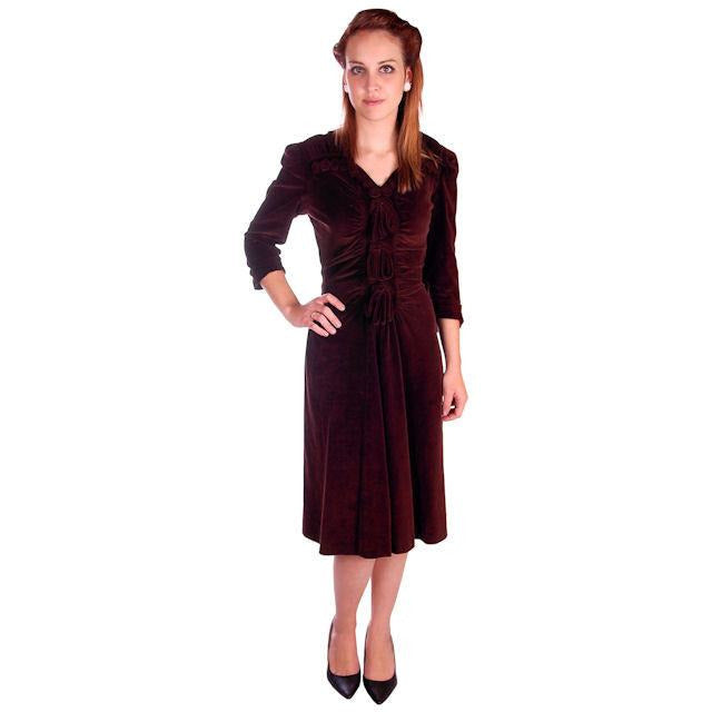 Vintage Chocolate Brown Velvet Day Dress 1930s Draping 38-28-47 - The Best Vintage Clothing  - 1