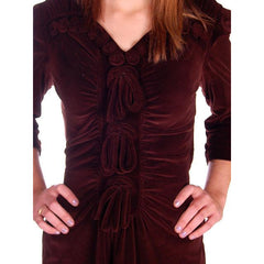 Vintage Chocolate Brown Velvet Day Dress 1930s Draping 38-28-47 - The Best Vintage Clothing  - 5