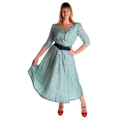 Vintage Circle Dress 1950s Turquoise & Black Full 40-28-Free - The Best Vintage Clothing  - 4