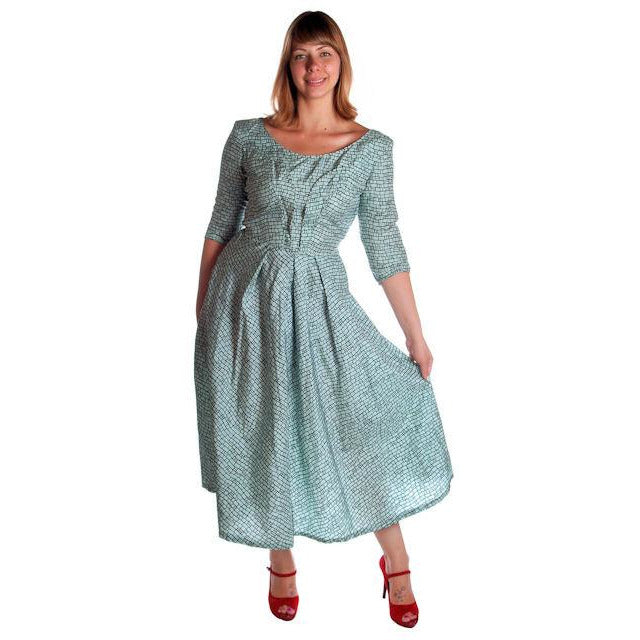 Vintage Circle Dress 1950s Turquoise & Black Full 40-28-Free - The Best Vintage Clothing  - 1