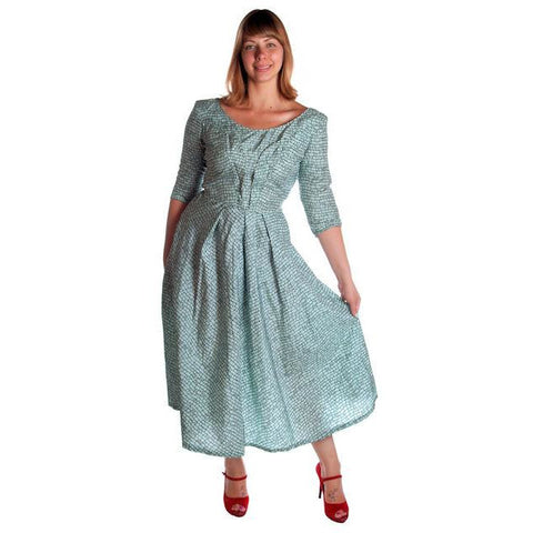 Vintage Circle Dress 1950s Turquoise & Black Full 40-28-Free