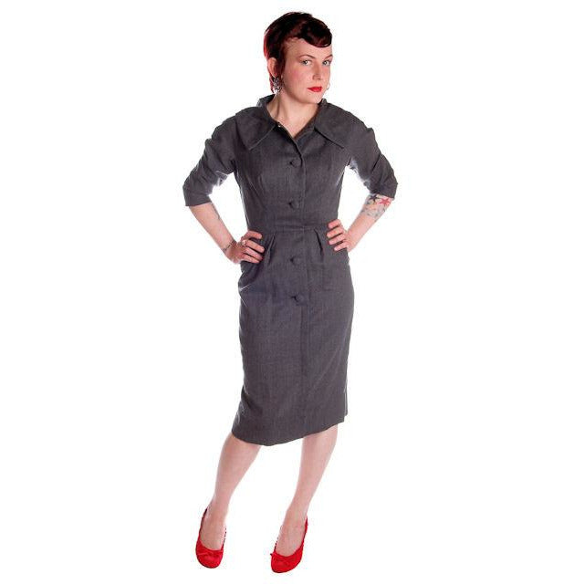 Vintage Grey Wool Secretary Dress 1950s Richard Cole 34-25-36 - The Best Vintage Clothing  - 1