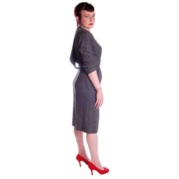 Vintage Grey Wool Secretary Dress 1950s Richard Cole 34-25-36 - The Best Vintage Clothing  - 3