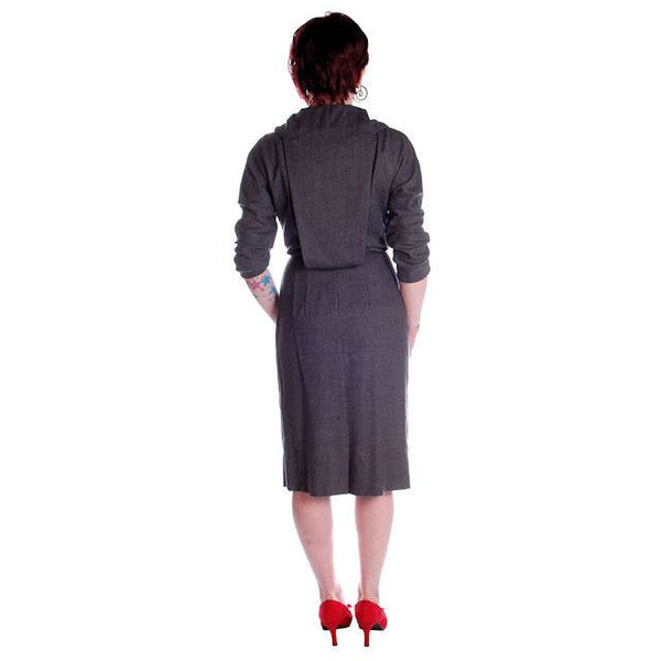 Vintage Grey Wool Secretary Dress 1950s Richard Cole 34-25-36 - The Best Vintage Clothing  - 2
