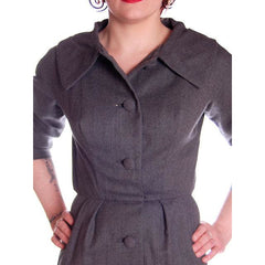 Vintage Grey Wool Secretary Dress 1950s Richard Cole 34-25-36 - The Best Vintage Clothing  - 6