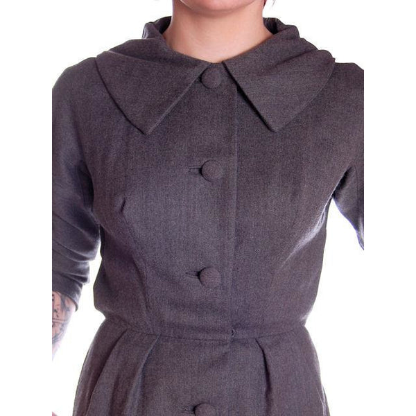 Vintage Grey Wool Secretary Dress 1950s Richard Cole 34-25-36 - The Best Vintage Clothing  - 5