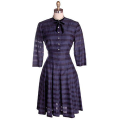 Vintage Navy & Black Striped Silk Day Dress & Jacket 1950s  37-28-44 - The Best Vintage Clothing  - 1