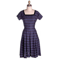 Vintage Navy & Black Striped Silk Day Dress & Jacket 1950s  37-28-44 - The Best Vintage Clothing  - 2