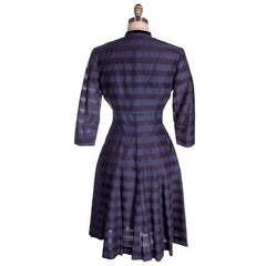 Vintage Navy & Black Striped Silk Day Dress & Jacket 1950s  37-28-44 - The Best Vintage Clothing  - 5