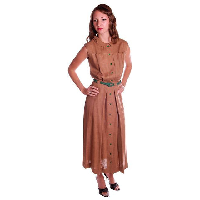 Vintage Mocha Linen Day Dress Green Buttons 1950 Sz 4 - The Best Vintage Clothing  - 1