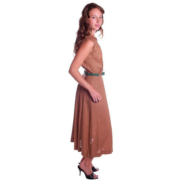 Vintage Mocha Linen Day Dress Green Buttons 1950 Sz 4 - The Best Vintage Clothing  - 2
