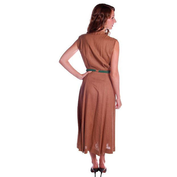 Vintage Mocha Linen Day Dress Green Buttons 1950 Sz 4 - The Best Vintage Clothing  - 3