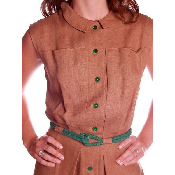 Vintage Mocha Linen Day Dress Green Buttons 1950 Sz 4 - The Best Vintage Clothing  - 4