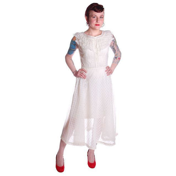 Vintage Dress 1950s White Nylon Full Skirted  36-26-Free - The Best Vintage Clothing  - 1