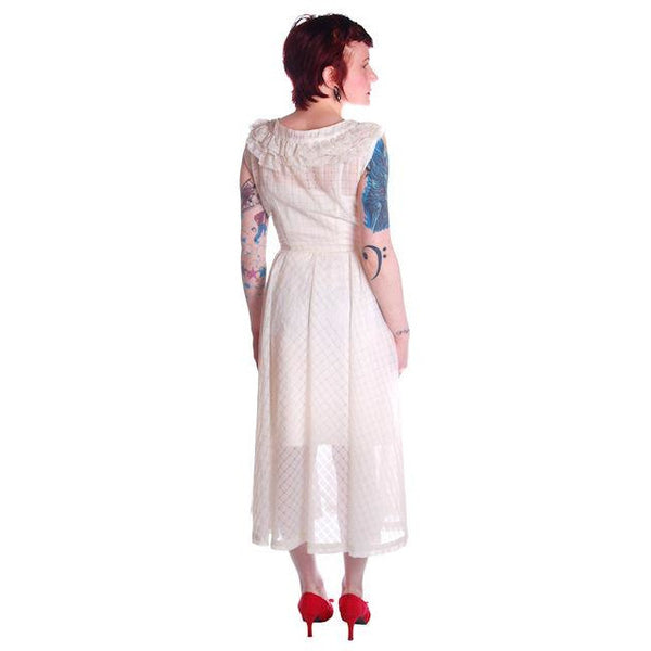 Vintage Dress 1950s White Nylon Full Skirted  36-26-Free - The Best Vintage Clothing  - 6