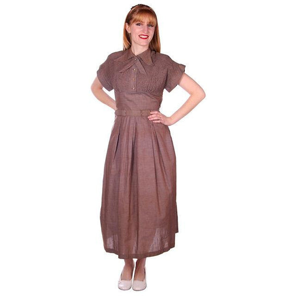Vintage Taupe/Blue Changeable Cotton Day Dress 1940s Campus Star 34-27-Free - The Best Vintage Clothing  - 4