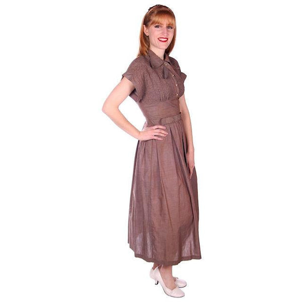 Vintage Taupe/Blue Changeable Cotton Day Dress 1940s Campus Star 34-27-Free - The Best Vintage Clothing  - 1