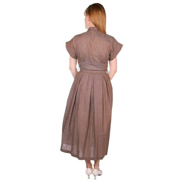 Vintage Taupe/Blue Changeable Cotton Day Dress 1940s Campus Star 34-27-Free - The Best Vintage Clothing  - 2