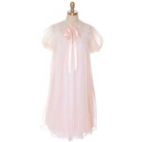 Vintage Peignoir Gotham Gold Stripe Frothy Pink Nylon Chiffon 1950s - The Best Vintage Clothing  - 1