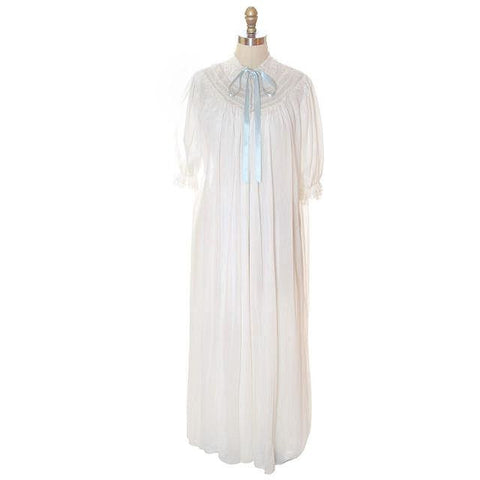 Vintage Peignoir Off White Honeymoon Nylon Lady Leonora 1950s - The Best Vintage Clothing  - 1