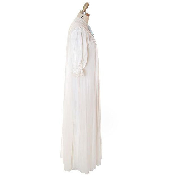 Vintage Peignoir Off White Honeymoon Nylon Lady Leonora 1950s - The Best Vintage Clothing  - 4