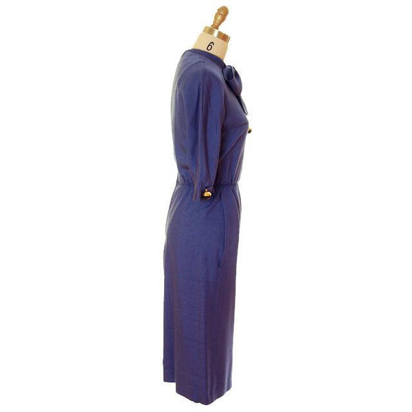 Vintage Sapphire Blue Dress Harvey Berin/ Karen Stark 1960s Big Brass Buttons - The Best Vintage Clothing  - 2