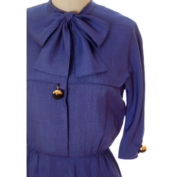 Vintage Sapphire Blue Dress Harvey Berin/ Karen Stark 1960s Big Brass Buttons - The Best Vintage Clothing  - 4