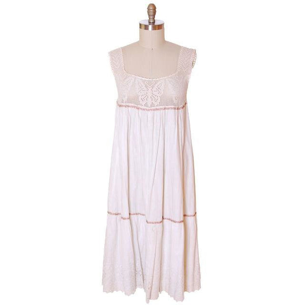 Victorian White Long Chemise Butterflies Micro Crochet Yoke Small - The Best Vintage Clothing  - 1