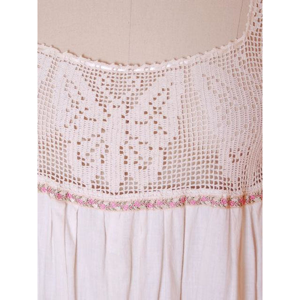 Victorian White Long Chemise Butterflies Micro Crochet Yoke Small - The Best Vintage Clothing  - 4
