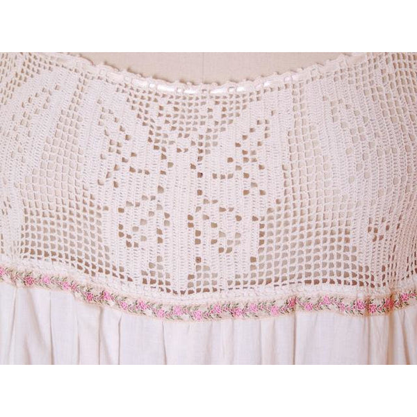 Victorian White Long Chemise Butterflies Micro Crochet Yoke Small - The Best Vintage Clothing  - 5