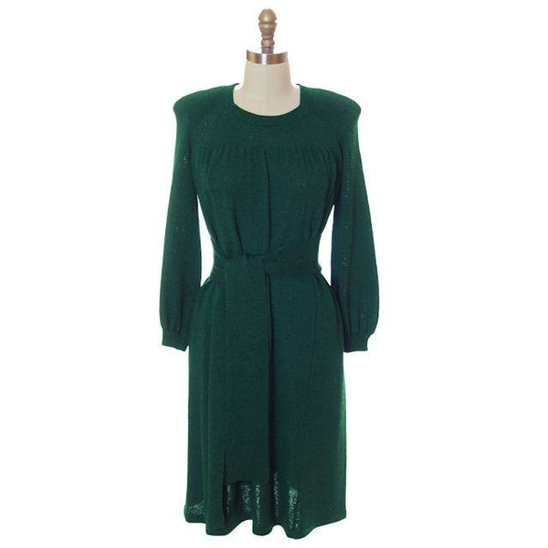 Vintage Green Knit Dress 1970s Adolfo Saks Fifth Ave Med - The Best Vintage Clothing  - 1
