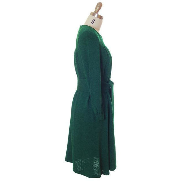Vintage Green Knit Dress 1970s Adolfo Saks Fifth Ave Med - The Best Vintage Clothing  - 2