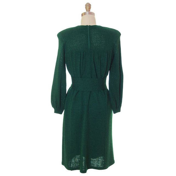 Vintage Green Knit Dress 1970s Adolfo Saks Fifth Ave Med - The Best Vintage Clothing  - 3
