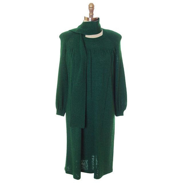 Vintage Green Knit Dress 1970s Adolfo Saks Fifth Ave Med - The Best Vintage Clothing  - 4