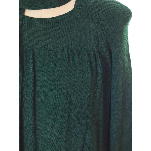 Vintage Green Knit Dress 1970s Adolfo Saks Fifth Ave Med - The Best Vintage Clothing  - 5