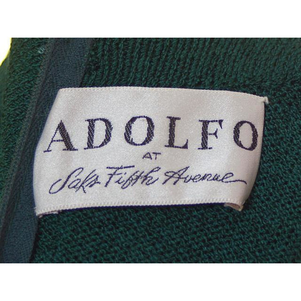 Vintage Green Knit Dress 1970s Adolfo Saks Fifth Ave Med - The Best Vintage Clothing  - 6