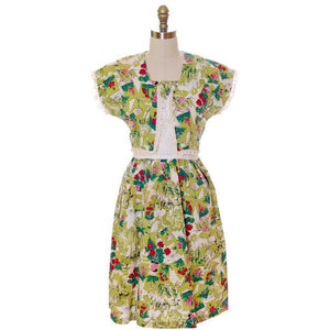 Vintage Printed Seersucker Dress Billie Barnes Original 1940s CUTE! - The Best Vintage Clothing  - 1