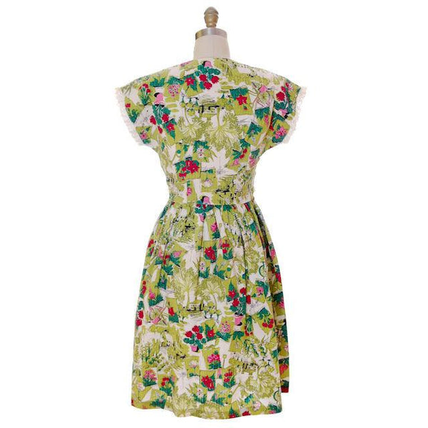 Vintage Printed Seersucker Dress Billie Barnes Original 1940s CUTE! - The Best Vintage Clothing  - 3