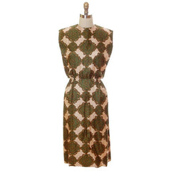 Vintage Silk Printed Dress 1960s Olive Green/Beige Pencil Skirt Small-Med - The Best Vintage Clothing  - 1