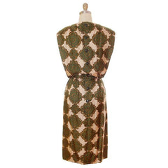 Vintage Silk Printed Dress 1960s Olive Green/Beige Pencil Skirt Small-Med - The Best Vintage Clothing  - 3