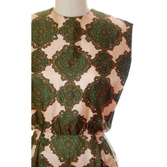 Vintage Silk Printed Dress 1960s Olive Green/Beige Pencil Skirt Small-Med - The Best Vintage Clothing  - 4