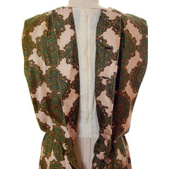 Vintage Silk Printed Dress 1960s Olive Green/Beige Pencil Skirt Small-Med - The Best Vintage Clothing  - 5