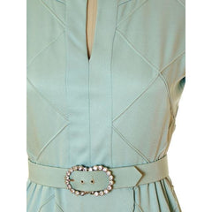 Vintage Pale Blue Evening Dress Short Saks Fifth Ave Rhinestone Belt 1969 - The Best Vintage Clothing  - 4