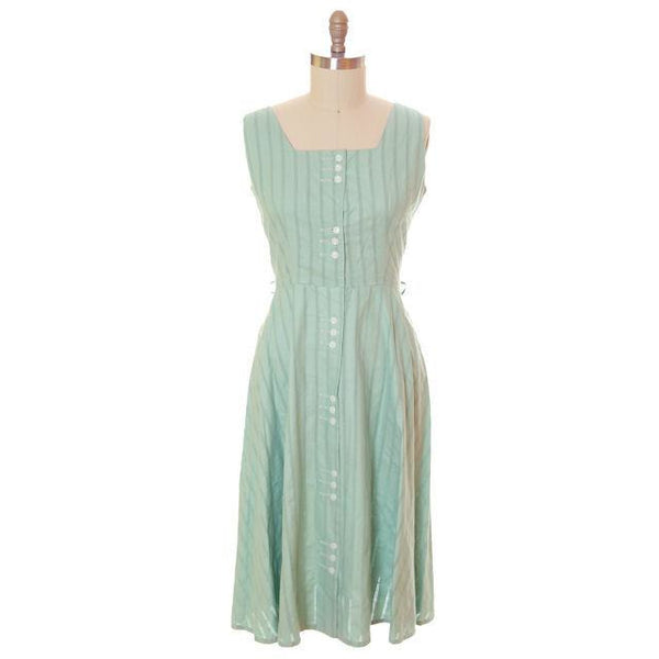 Vintage Ladies Day Dress Pale Green Cotton Cool Button Details 1950s Large - The Best Vintage Clothing  - 1