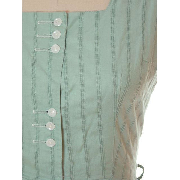 Vintage Ladies Day Dress Pale Green Cotton Cool Button Details 1950s Large - The Best Vintage Clothing  - 5